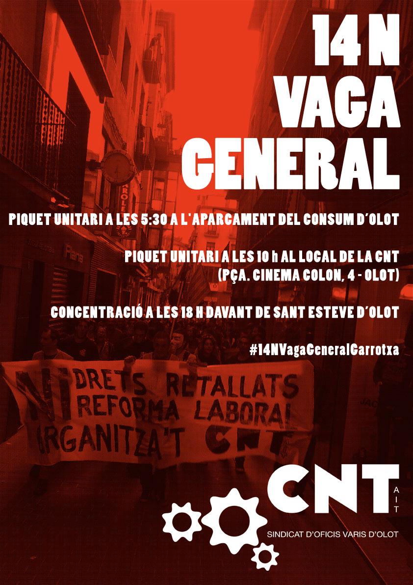 Convocatòria de piquets i concentració-manifestació a Olot per la Vaga General del 14N