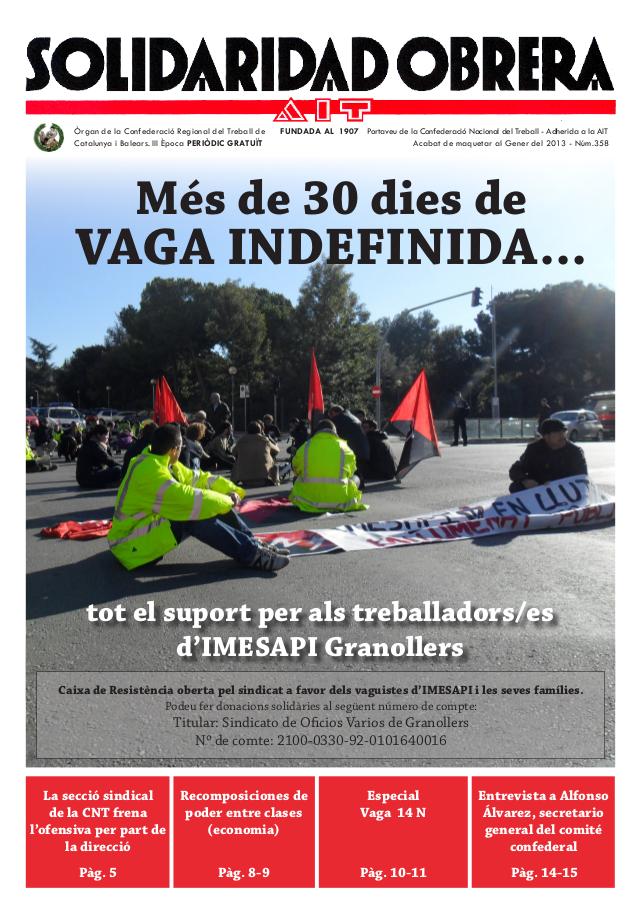 Nou número de Solidaridad Obrera nº 358 – Gener 2013