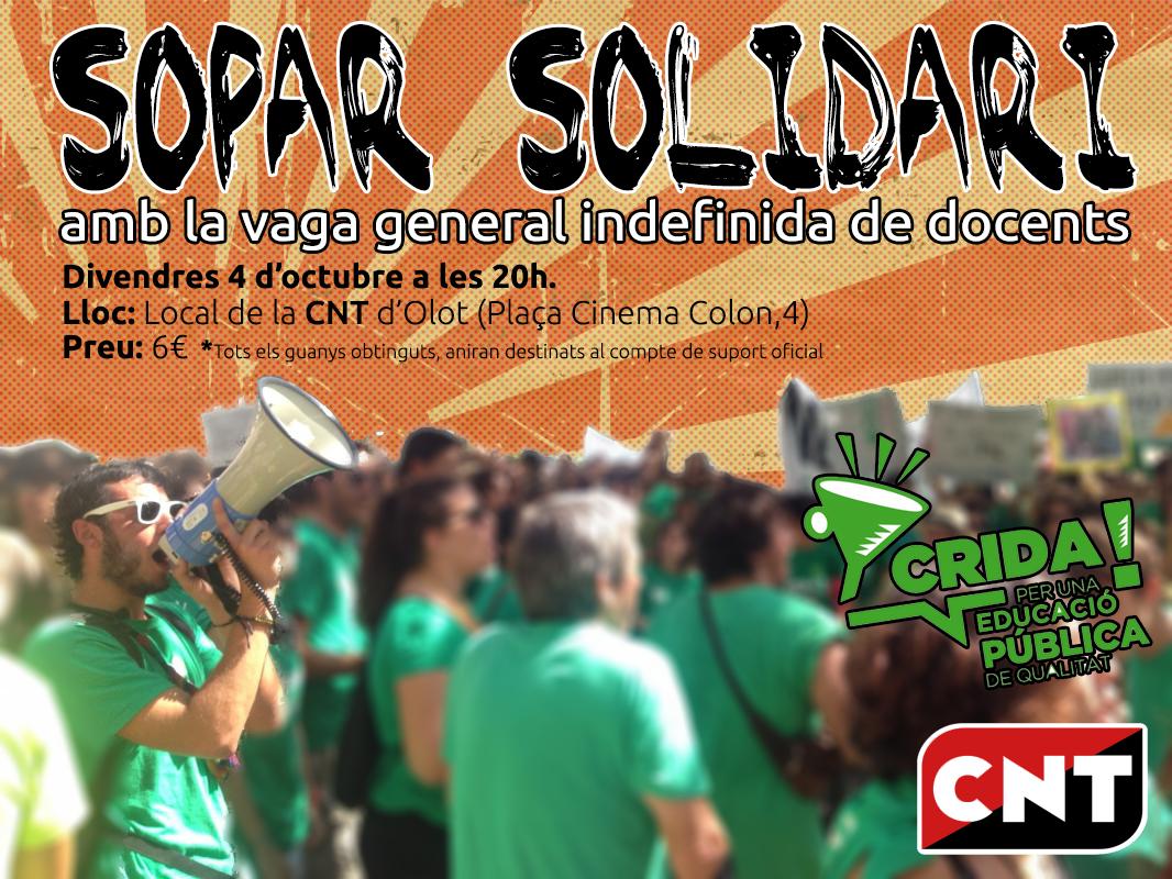 Sopar solidari amb la Vaga Indefinida de docents