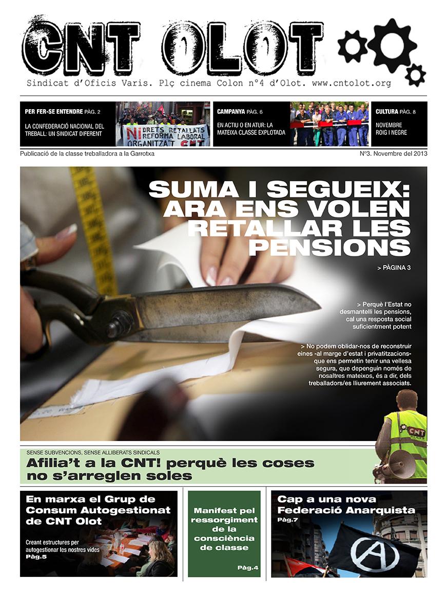 """nº3 del periòdic """"CNT Olot"""" ja disponible a la xarxa i al carrer"""