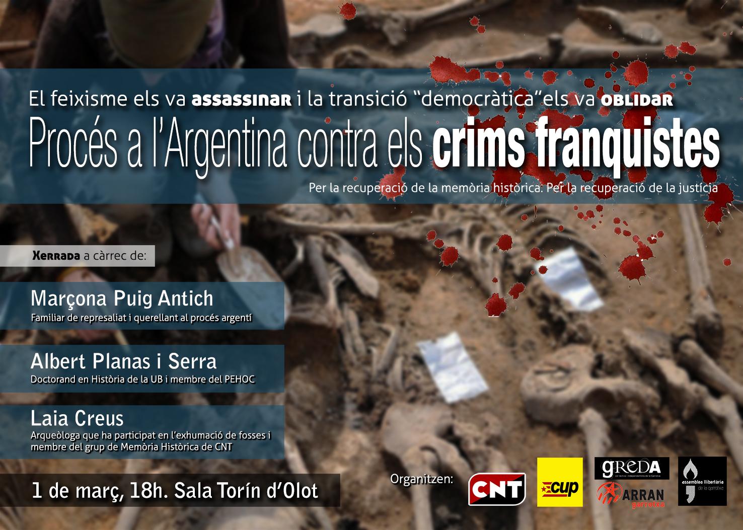 """1 de març acte a Olot """"Procés a l'Argentina contra els crims franquistes"""""""