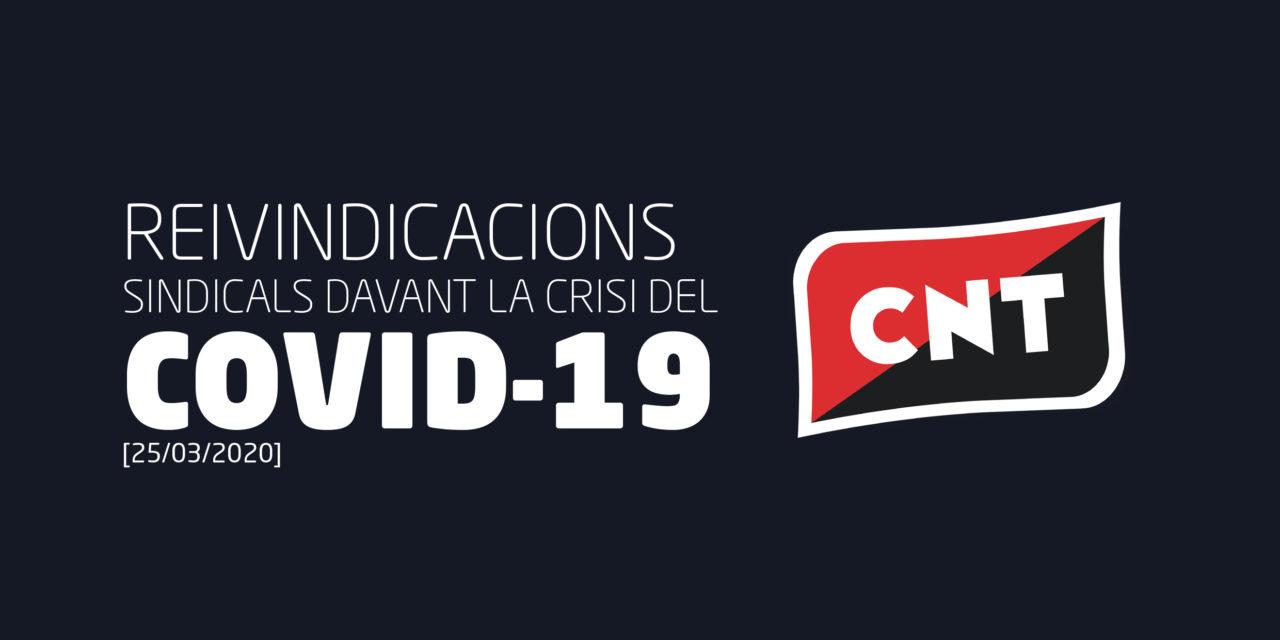 REIVINDICACIONS SINDICALS DAVANT LA CRISIS DEL COVID-19. 15 PUNTS [25/03/2020]