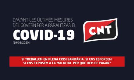 COMUNICAT DAVANT LES ÚLTIMES MESURES DEL GOVERN PER A PARALITZAR EL COVID-19 [29/03/2020]